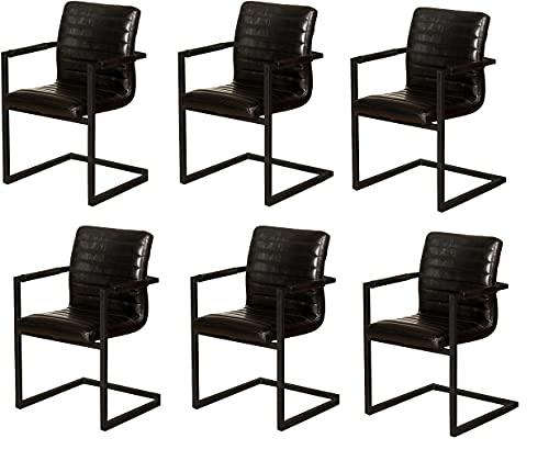 SAM 6er Set Esszimmerstuhl Parzivo, Kunstlederbezug schwarz, Armlehnstuhl im Industrial-Stil, Schwingstuhl mit Eisen-Fuß