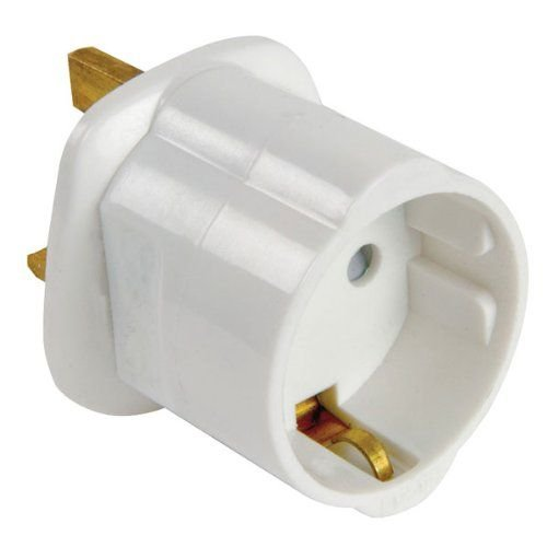CABLEPELADO Adaptador de Enchufe de Europeo a Enchufe UK (1x, Blanco)