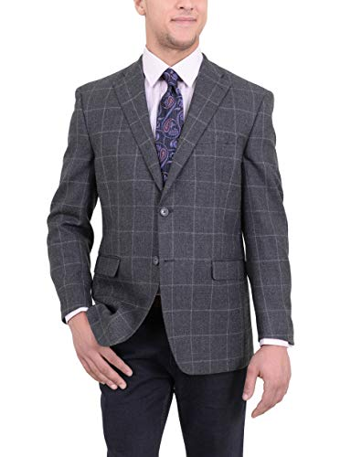 Ital Uomo Classic Fit Gray Windowpane Flannel Wool Blazer Sportcoat