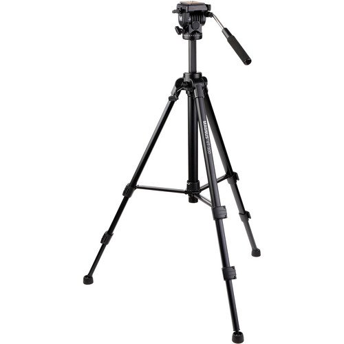 "Magnus VT-300, Video Tripod System with Fluid Head, Extends to 64"", Max Load 15 lbs. Mid-Level Spreader, Replaceable Rubber Feet. Plus Quick Release plate, Pan Bar, Carry Case with Shoulder Strap"