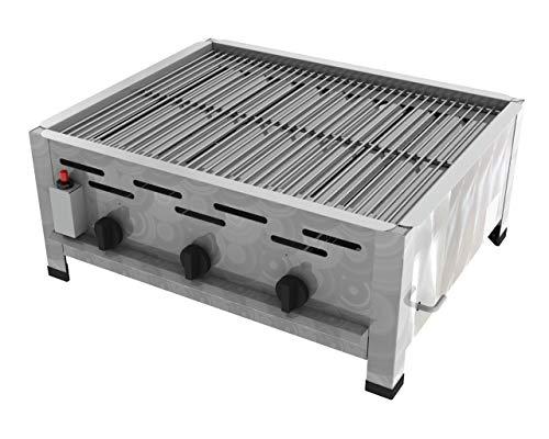 ChattenGlut Professional Gastrobräter 3-flammig Tischgerät Edelstahl Stahlbrenner für Flüssiggas 650x530x270mm (10,8 Rost)