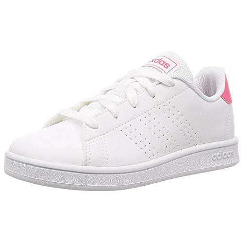 adidas Advantage K, Scarpe da Tennis Unisex-Bambini, Blanc Rose Intense Blanc, 38.5 EU