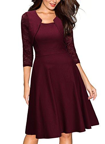 Miusol? Damen Abendkleid Elegant Cocktailkleid Vintage Kleider 3/4 Arm mit Spitzen Knielang Party Kleid Weinrot Gr.M - 4