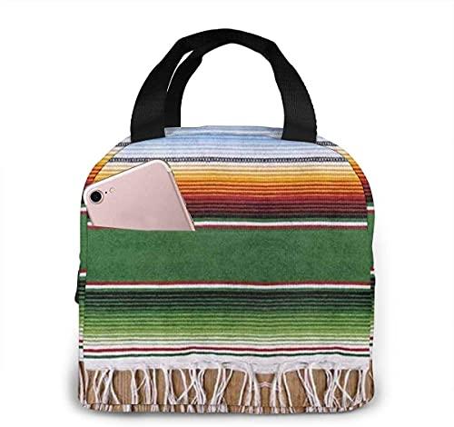 XCNGG Bolsa de almuerzo de manta mexicana, caja de juego portátil aislada para adultos, niños, adolescentes