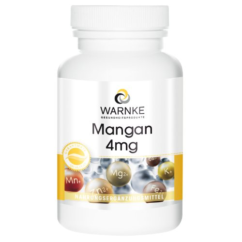 Mangan 4mg - Mangangluconat Kapseln - vegan & hochdosiert - 90 Kapseln - Hergestellt in Deutschland