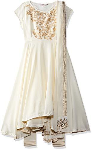 Biba Women's Synthetic Anarkali Salwar Suit Set (Skd5539_Off-White_38, Off-White, Xl)