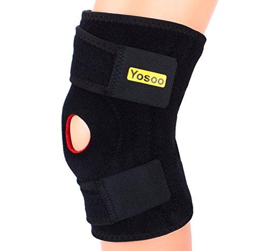 Férula para la rodilla de neopreno, ajustable, con soportes laterales para la estabilización rotuliana, Basic Support, para ejercicio físico, rodillera, color rojo