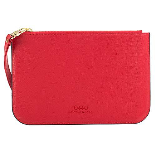 Otto Angelino Klassische Echtleder Brieftasche mit Armband-Gurt - Geschmeidige Textur - Reise-freundlicher Reißverschluss - Bewahrt ID, Business und Kreditkarten - RFID Schutz (Rot)