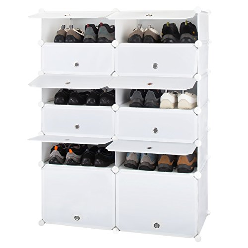Honey Home Modular Plastic Shoe Rack Free Standing with Doors, 12 Cubes DIY Storage Organizer Portable Shoes Cabinet
