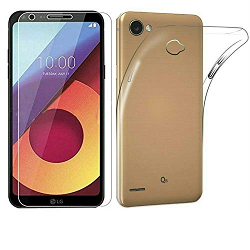 AVICA® Combo Offer Transparent Crystal Clear Back Cover TPU + 2.5D HD Tempered Glass for LG Q6 / Q6 Plus