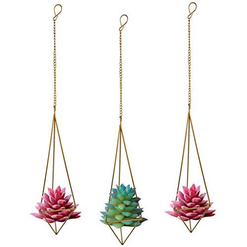 Nydotd Himmeli Hängepflanzenhalter für Tillandsien-Luftpflanzen (mit Ketten), rustikaler Stil, freistehend, geometrisches Metall, Tillandsien-Design, Bronzefarben, dreieckig, 3 Stück