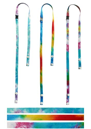 Tie Dye Mask Lanyard Straps for Kids - Safe Holder for Mask with Safety Breakaway Clasp and Snap Buttons (tie dye, 3)