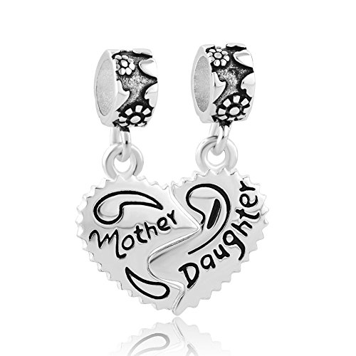 UNIQUEEN Mothers Day Charm Daughter Dangle Mum Charms - Sterling Silver - fits Biagi & Troll Bracelets