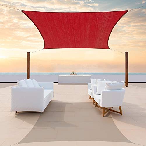 ColourTree 12' x 18' Red Rectangle Sun Shade Sail Canopy Awning Fabric Cloth Screen - UV Block UV Resistant Heavy Duty Commercial Grade - Outdoor Patio Carport - (We Make Custom Size)
