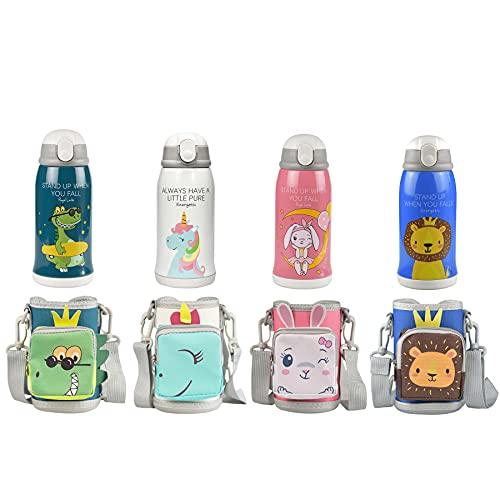 Termo para niños caliente y frío, acero inoxidable, botella de agua al vacío, con bolsa de transporte, pajita, taza para bebé, termo para niños, diseño de dinosaurios