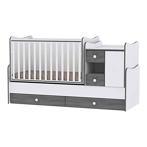 Lit bébé évolutif/combiné MiniMax 3en1 Lorelli Gris (le lit bébé se transforme en: bureau, armoire, lit d'adolescent) Lorelli