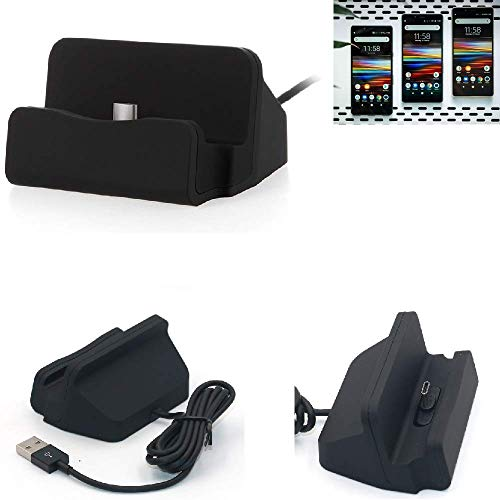K-S-Trade Dockinsgstation Für Sony Xperia L3 Ladestation Dock Ladegerät Docking Station Inkl. USB Typ C Kabel Schwarz