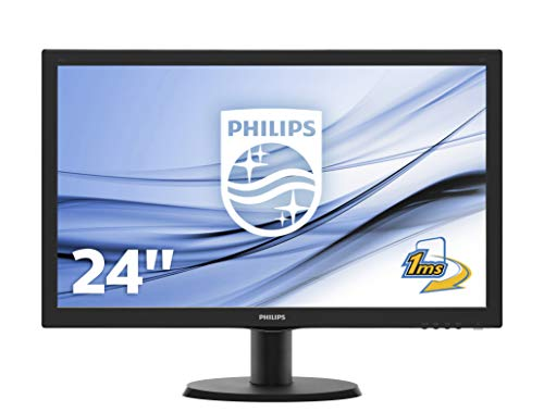 "Philips 243V5LHAB Gaming Monitor 24"" LED Full HD, 1920 x 1080, 1 ms, Audio Integrato, Multimediale, HDMI, DVI, VGA, Attacco VESA, Nero"