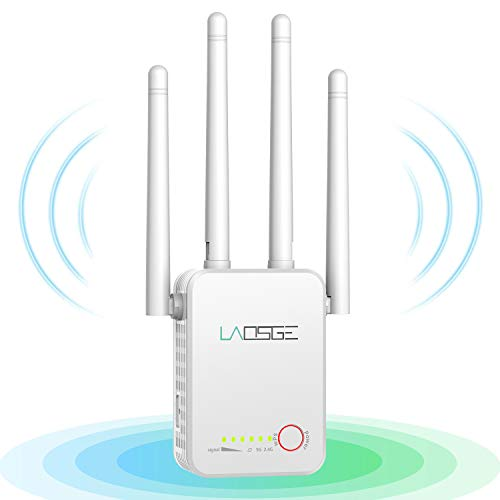 LAOSGE Super WiFi Extender Signal Booster, 1200Mbps WiFi Booster Wireless Internet Amplifier 360° Full Coverage, 2.4 & 5GHz Dual Band WiFi Repeater with Ethernet/LAN Port (White)