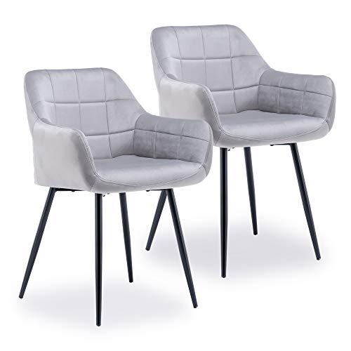 ZOEON Esszimmerstühle 2er Set - Küchenstühle mit Rückenlehne aus Samt - Metallbeine Elif - Polsterstuhl für Esszimmer (Hellgrau)