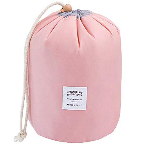 Grande trousse multifonction de voyage pour dames -en nylon, avec cordon rose rose