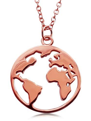 VIASOUL® Halskette Weltkugel I Weltkarte Für Damen aus 925er Silber I Mit 585er Gold überzogen I Die Original Welt Kette (Rose)