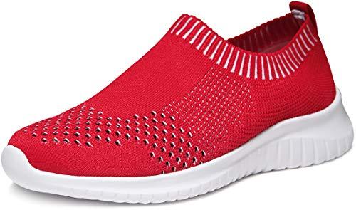 TSLA Women's Slip-on Easy Casual Walking Running Work Sneaker Knit Mesh Shoes, Lightweight(ry100) - Red, 6