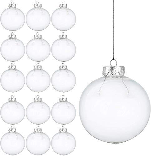 15 Weihnachtskugeln aus transparentem Kunststoff – befüllbare DIY Christbaumkugeln aus Plastik – klare und durchsichtige Kunststoffkugeln zum Befüllen als Christbaumschmuck oder zum Dekorieren