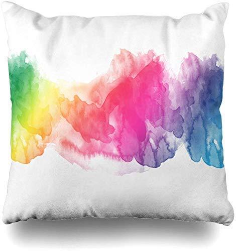 Fundas de almohada de color azul acuarela arco iris borde rosa naranja líquido multi actividad acuática turquesa retro decoración del hogar Chion funda de almohada, 45 x 45 cm
