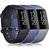 Vancle 3 Pack Kompatibel für Fitbit Charge 3 Armband/Fitbit Charge 4 Armband, Klassisch Sport Verstellbares Ersatzarmband für Fitbit Charge 3/Fitbit Charge 4 (Schwarz/Marine Blau/Blau Grau, S)