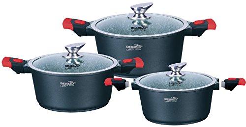 Haussmann Héritage - 6pcs faitout/casserole set revêtement granite avec poignée amovible - tous feux dont induction - HM0633G(noir)