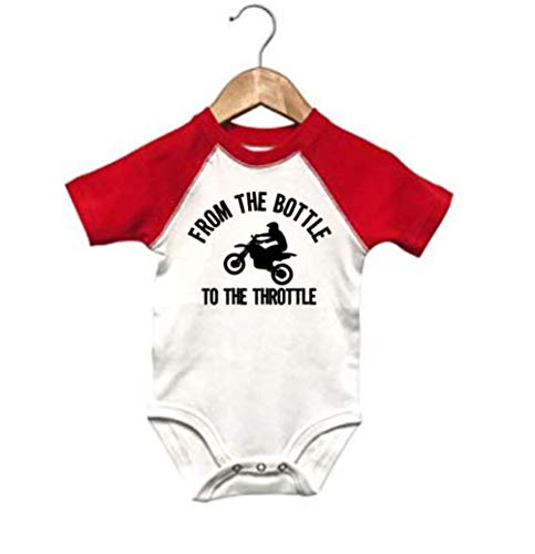 Ebenezer Fire Motocross Onesie, from The Bottle to The Throttle, Baby Racing Outfit, SS Raglan (12-18M, SS RED Raglan)