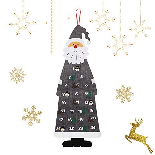 Ulikey Calendario dell'avvento Natalizio in Feltro, Calendario Dell'Avvento Babbo Natale, XXL Avvento Calendario Avvento da Riempire con 24 Tasche per Natale Decorativo Accessori per Feste (Grigio)