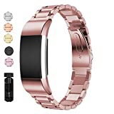 Jiarusig Compatible with Fitbit Charge 2 Bands, Stainless Steel Metal Bands Strap Men Women Replacement Bracelet Small Large Wristband Accessories Band Compatible with Fitbit Charge 2, Rose Pink
