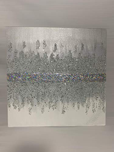 METALLIC SILVER| Z Gallerie Inspired | Glitter Wall Art Acrylic Paint Canvas | Crushed Glass | Luxury Decor | Diamond Painting Abstract Glam
