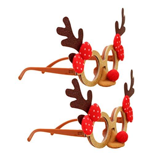 Amosfun 2pcs Weihnachten Brillengestell lustige Partei begünstigt Kinder Erwachsene Spielzeug Geweih dekorative Gläser Cartoon Brillengestell Partei Sonnenbrille Foto Requisiten