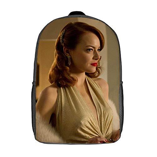 QUEMIN Emma Stone Bolsos de hombro Mochila escolar ligera Mochila de viaje para portátil de 15 pulgadas Bolso Dzc de 17 pulgadas