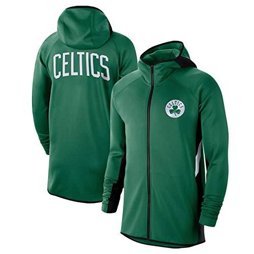 NQI Celtics Hombre con Cremallera de Entrenamiento con Cremallera Sudadera con Capucha, Entrenamiento de Manga Larga Top Sudadera Deportes Rendimiento de Baloncesto Suda Green 1-M