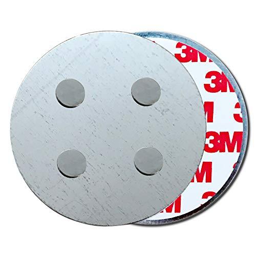 HaftPlus - [1 Stück] Rauchmelder-Magnethalter Ø 70mm, mit 4 extra starken Neodym-Magneten, selbstklebendes 3M Tape für alle Rauch und CO Melder, ohne Bohren für alle Wände und Decken