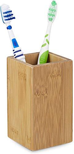 Relaxdays 10020226 Gobelet porte brosse à dents - bambou nature verre salle de bain,HxlxP: 11,5 x 6,5 x 6,5 cm, nature
