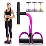 gracosy Resistance Bands, Workout Exercise Bands Natural Latex Foot Pedal Elastic Pull Rope 4 Tube Stretch Bands for Physical Therapy Yoga Training Grey Pink F