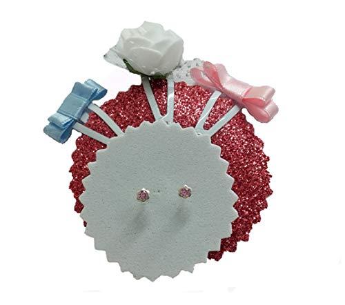 DOCOLASTRA Pendientes Circonitas Rosa en Garras con Rosca de Bebe con Tres Pinzas de Bebe de Regalo.