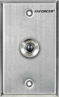 Seco-Larm SD-7201KBQ ENFORCER Push-Button RTE Plate, Single-Gang, Black Push-button, N.C.; Stainless-steel plate; Momentary push-button switch with ring guard