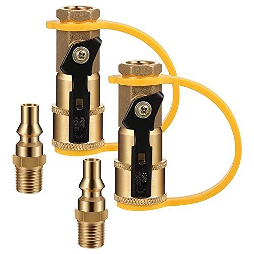 YOKOKO Adaptador de ConexióN de Propano RV de 2 Piezas de 1/4 Pulgadas para Manguera de Propano, Kit de ConexióN/DesconexióN RáPida, VáLvula de Cierre y Enchufe de Flujo Completo