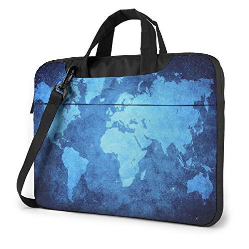 Blue World Map Laptop Bag Shockproof Briefcase Tablet Carry Handbag for Business Trip Office 13 inch
