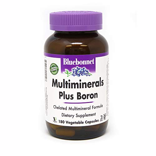 BlueBonnet Multi Minerals Plus Boron Vegetarian Capsules, 180 Count, White