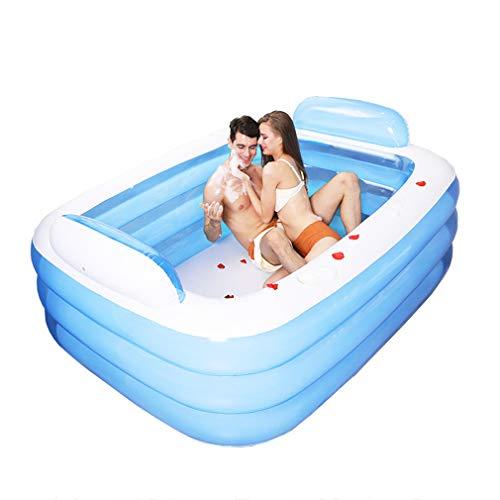 ZTGL Aufblasbare Badewanne Erwachsene, Faltbar und Mobiles Swimming Pool Plantschbecken, Blau,L