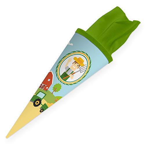 itenga Geschwisterschultüte 35cm für Kinder Geschenkverpackung Schultüte klein Kindergarten Zuckertüte (Bauernhof Traktor)