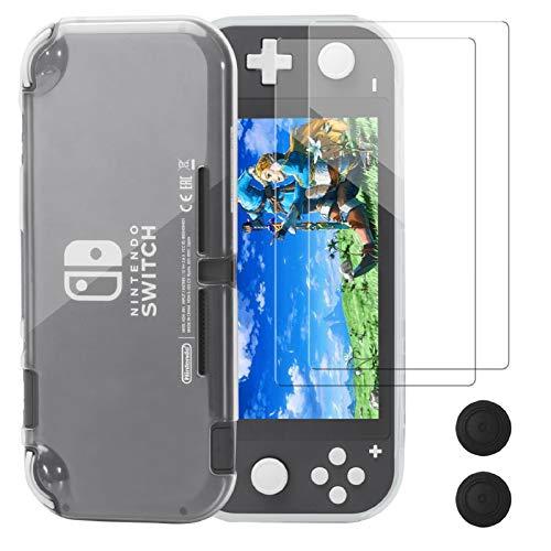 Funda Protectora para Nintendo Switch Lite, REDTRON Funda cómoda de TPU de Cristal con Protector de Pantalla de Vidrio Templado y Tapas de Agarre para la Consola Nintendo Switch Lite 2019