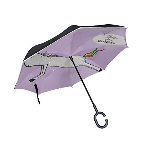 Double Layer Inverted Umbrella Reverse Folding Großes Einhorn Engagiert in Yoga Klappstuhl Umbrella Reversable Umbrella Winddichter winddichter UV-Schutz für Regen mit C-förmigem Griff